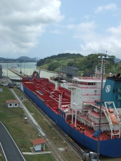 miraflores locks towards pacific 240x320